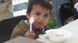 Josue with menudo and lollipop mouth :)