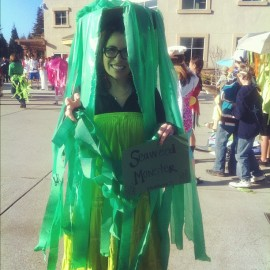 look! I'm a seaweed monster. hahaha im funny.