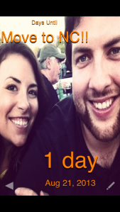 the countdown on my phone - finally down to one day left!
