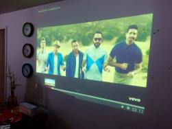 we have this really cool projector so music video dancing is on POINT.