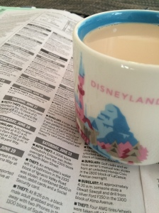 so good to be home...coffee and the police blotter of a small town.