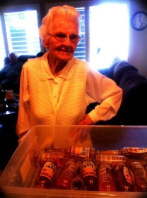 her 96th bday. really. with a bucket of beer.