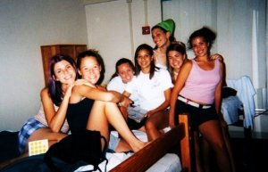 killing it at the volleyball team camp in high school. note the pager tucked into my boxers.
