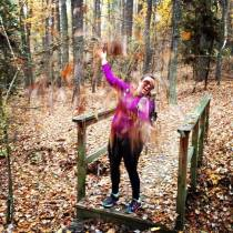 "Trying to take one of those ""I'm a white girl, so I Instagram throwing leaves at myself in Fall after drinking a pumpkin spice latte"" pictures. Am I doing it right? - from my former life in North Carolina, 2014"