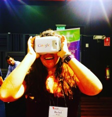 using Google virtual reality glasses at the conference!