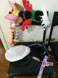 headbands and hats out for bday party props!