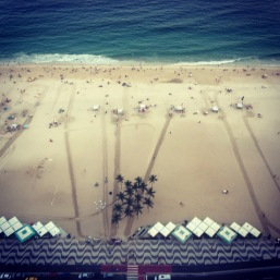 Copacabana beach from our hotel! This is right where they had the Olympic vball stadium.